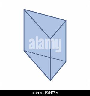 The illustration of an isolated triangular prism on white background - Stock Photo