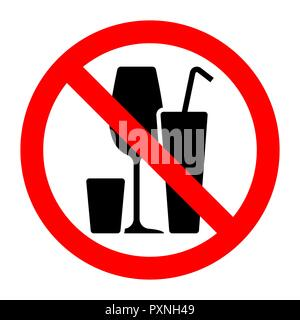 Alcohol cocktails stop forbidden prohibition sign. Vector illustration. - Stock Photo