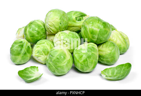Delicious brussel sprouts, isolated on white background. Fresh cabbage vegetables. - Stock Photo