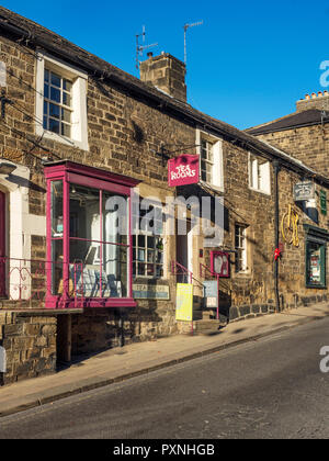Tea Rooms in the Old Shops on the High Street at Pateley Bridge North Yorkshire England - Stock Photo