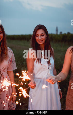 Friends having a picnic in a vinyard, burning sparklers - Stock Photo