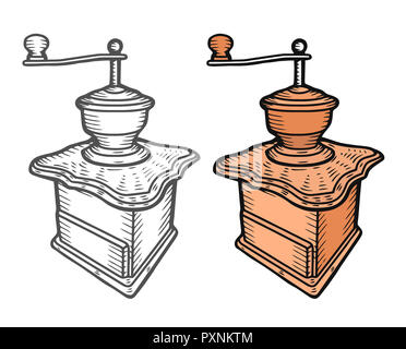 Coffee mill. Vintage black   engraving illustration for label, web. Isolated on white background. Hand drawn sketch style. - Stock Photo