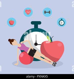 health fitness cartoon - Stock Photo