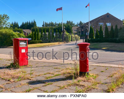 Two red post letter boxes outside the lancashire manor hotel in pimbo skelmersdale - Stock Photo