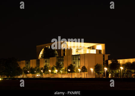 The Federal Chancellery (Bundeskanzleramt) at night in Berlin / Germany - Stock Photo