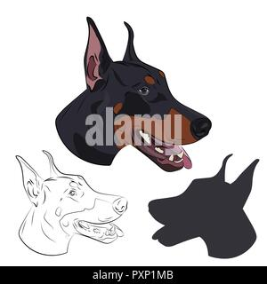 Doberman Pinscher face isolated on white background. Silhouette of dog head. Dobermann panting with tongue out. Watchdog portrait for your design. - Stock Photo