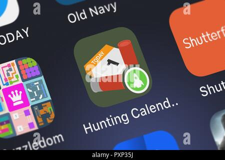 London, United Kingdom - October 23, 2018: Screenshot of the Hunting Calendar mobile app from TOP APP d.o.o. icon on an iPhone. - Stock Photo