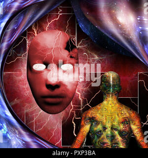 Surrealism. Mystic mask with lightnings. Man with weird demonic eyes on skin. Warped space. - Stock Photo