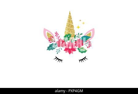 Cute unicorn illustration - Merry Christmas card and shirt design - Stock Photo