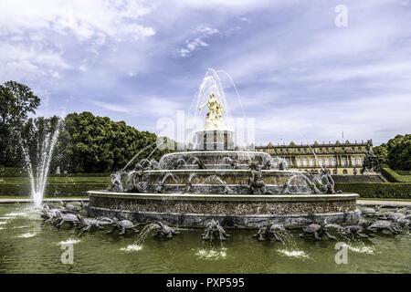 Latona Fountain, Herrenchiemsee Palace, Herreninsel, Gentleman s Island, Lake Chiemsee, Chiemgau, Upper Bavaria, Germany, Europe - Stock Photo