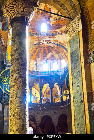 View of the North gallery of the Hagia Sophia mosque with the Exedra gallery in the background. Istanbul, Turkey. - Stock Photo