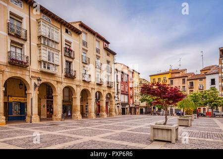 Old houses around the market square in Logrono, La Rioja, Spain. - Stock Photo