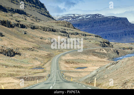28 April 2018: South Iceland - Through the windscreen shot of the Iceland Ring Road in South Island, driving through mountain scenery. Probably best a - Stock Photo