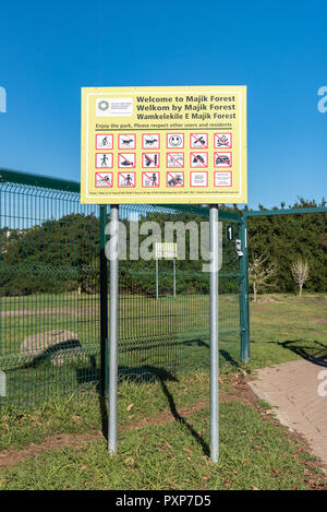 DURBANVILLE, SOUTH AFRICA, AUGUST 11, 2018: An information board at the lower entrance to Majik Forest in Durbanville in the Western Cape Province