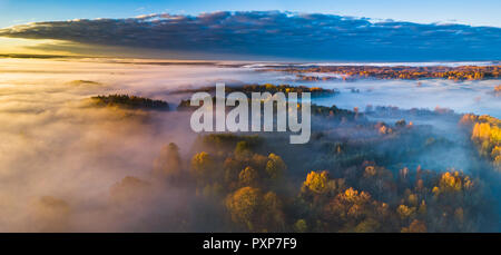 Aerial panoramic view of fog at Autumn, Lithuania - Stock Photo