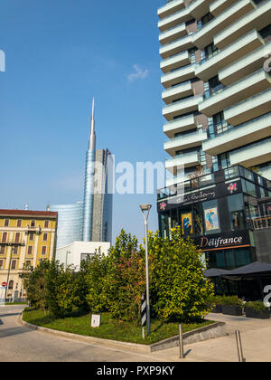 Unicredit Tower, seen from Via Amerigo Vespucci, Milan, Italy. The tallest skyscraper in Italy. View of the Unicredit Tower and the Solaria Tower - Stock Photo