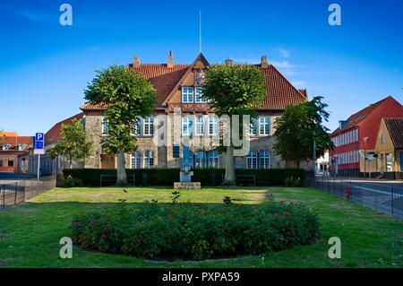 RONNE, DENMARK - AUGUST 22, 2018: The old building of post office in Lille Torv arranged for a hotel called Hotel Posthuzed in the capital of Bornholm - Stock Photo
