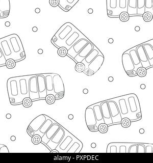 Buses, hand drawn backdrop. Black and white seamless pattern with transport - Stock Photo