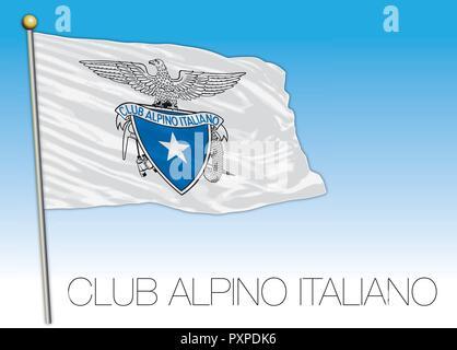 CAI, italian alpine club flag, vector illustration - Stock Photo