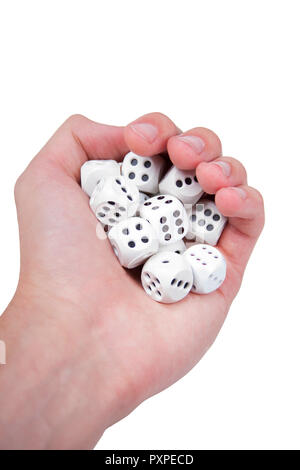 Hand full of white dices isolated on white - Stock Photo