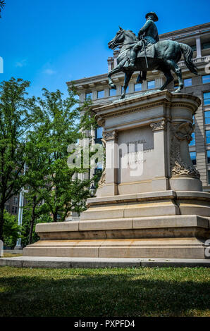 JULY 5 2017 - WASHINGTON, DC: Major General Winfield Scott Hancock Statue on a sunny summer day - Stock Photo