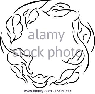 Simple line drawing of a wreath of leaves, vector illustration on white background. - Stock Photo