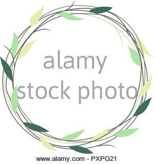 Simple wreath with green and yellow leaves, vector illustration - Stock Photo