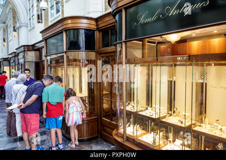 London England United Kingdom Great Britain Mayfair Burlington Arcade shopping upmarket luxury covered pedestrian arcade stores Somlo Antiques window - Stock Photo