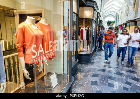 London England United Kingdom Great Britain Mayfair Burlington Arcade shopping upmarket luxury covered pedestrian arcade stores N Peal cashmere clothi - Stock Photo