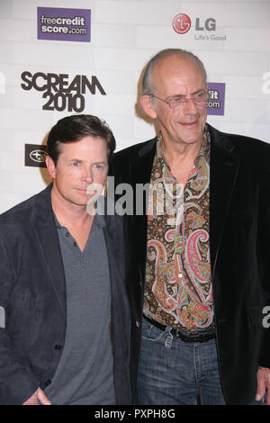 Michael J. Fox, Christopher Lloyd  10/16/10 Spike TV 'Scream 2010' Awards Photo by Ima Kuroda/HNW / PictureLux (October 16, 2010)   File Reference # 33687_512HNWPLX - Stock Photo