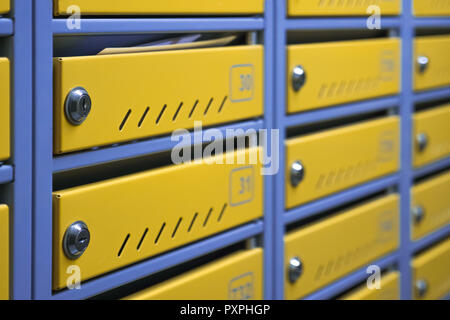 Metal mailboxes in an apartment building. Mailboxes background. - Stock Photo