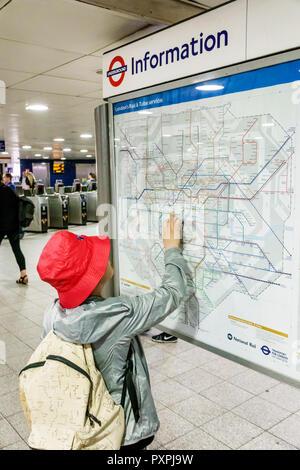 London England United Kingdom Great Britain Soho Oxford Circus Underground Station underground subway tube public transportation route train line maps - Stock Photo