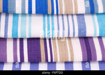 Colorful kitchen towels closeup picture. - Stock Photo