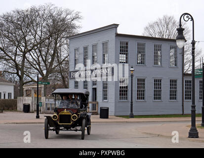 Dearborn, MI / USA - 04.21.2018 : Ford t model on the street of the old american style greenfield village - Stock Photo