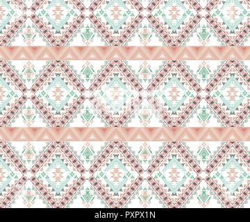 Vector Seamless Tribal Pattern. Stylish Art Ethnic Print Ornament with Triangles,. - Stock Photo