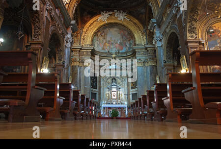ROME, ITALY - SEPTEMBER 26 2018: Basilica of Saint Sylvester the First , the baroque central nave interior,  Roman Catholic minor basilica  dedicated  - Stock Photo
