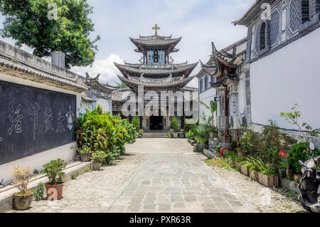 China, Yunnan, Dali, Catholic Church - Stock Photo