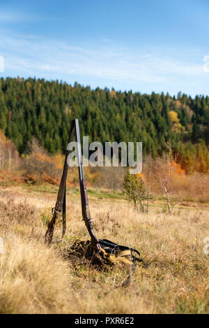 Two hunting double-barreled shotgun stand side by side in the middle of nature, retro rifle. Concept hunting, hobbies and lifestyle - Stock Photo