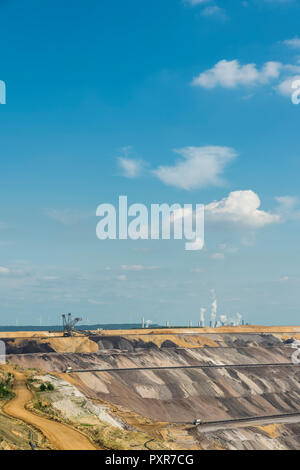 Germany, Garzweiler surface mine with power stations Frimmersdorf and Neurath - Stock Photo