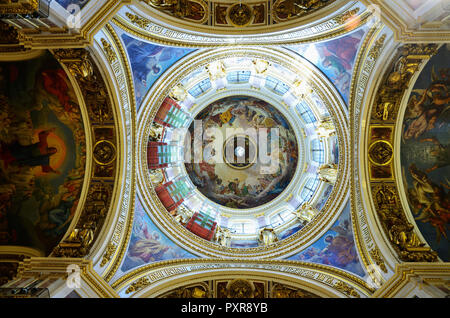 Interior of the great dome, honoring the Holy Spirit. Saint Isaac's Cathedral. Saint Petersburg, Northwestern, Russia. - Stock Photo