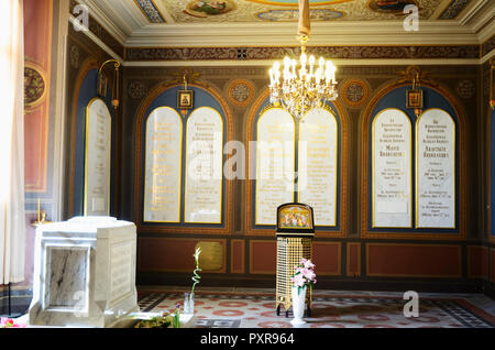 Tombstones marking the burial of Tsar Nicholas II and his family in St. Catherine's Chapel. Saints Peter and Paul Cathedral, Peter and Paul Fortress.  - Stock Photo