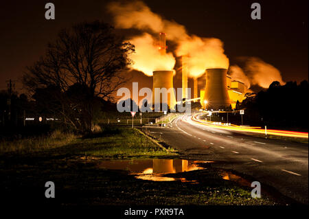 Loy Yang brown coal power station at night, located in the Latrobe Valley Victoria Australia - Stock Photo