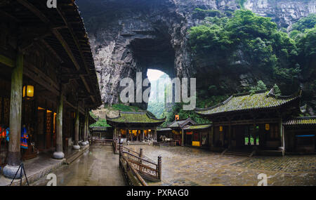 China, Sichuan Province, Wulong Karst, traditional houses, entrance - Stock Photo
