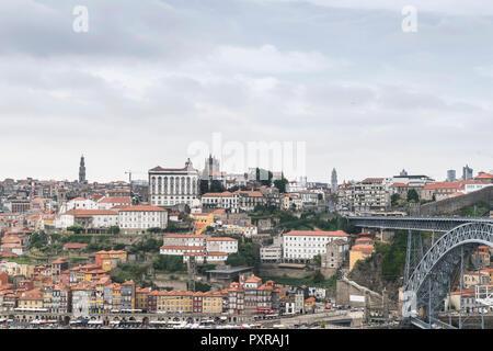 Portugal, Porto, view to the city and Ponte Luiz I Bridge from Vila Nova de Gaia - Stock Photo