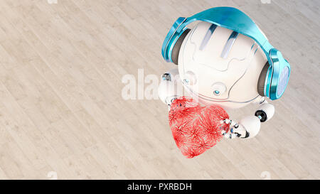 3D rendering, Little drone with headphones holding heart - Stock Photo