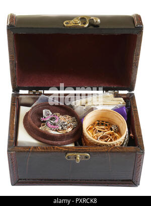 A young woman keeps her silver and gold rings  chains and bracelets in a dusty  mass production  box of leather. Isolated on white - Stock Photo