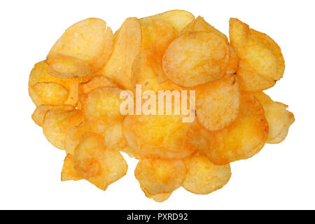 A bunch of potato chips with bacon flavor. Isolated on white studio macro shot - Stock Photo