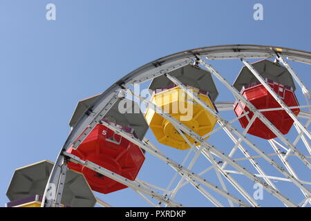 Pacific Park Ferris Wheel in Santa Monica, California - Stock Photo