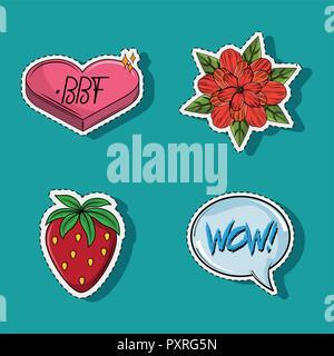 Set of cute and romantic cartoons - Stock Photo