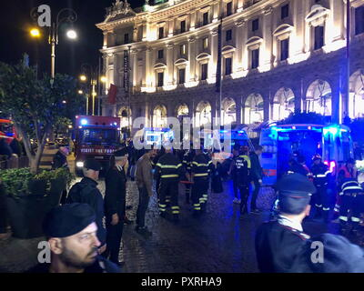 Rome, Italy. 23rd Oct, 2018. ROME, ITALY - OCTOBER 23, 2018: Firefighters and police outside the Repubblica underground station; some 30 people including CSKA Moscow fans from Russia have been injured in an escalator accident at the Repubblica underground station; Rome is hosting a UEFA Champions League Group Stage football match between CSKA Moscow and Roma. Vera Shcherbakova/TASS Credit: ITAR-TASS News Agency/Alamy Live News - Stock Photo